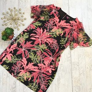 Vince Camuto tropical floral shift dress size 14